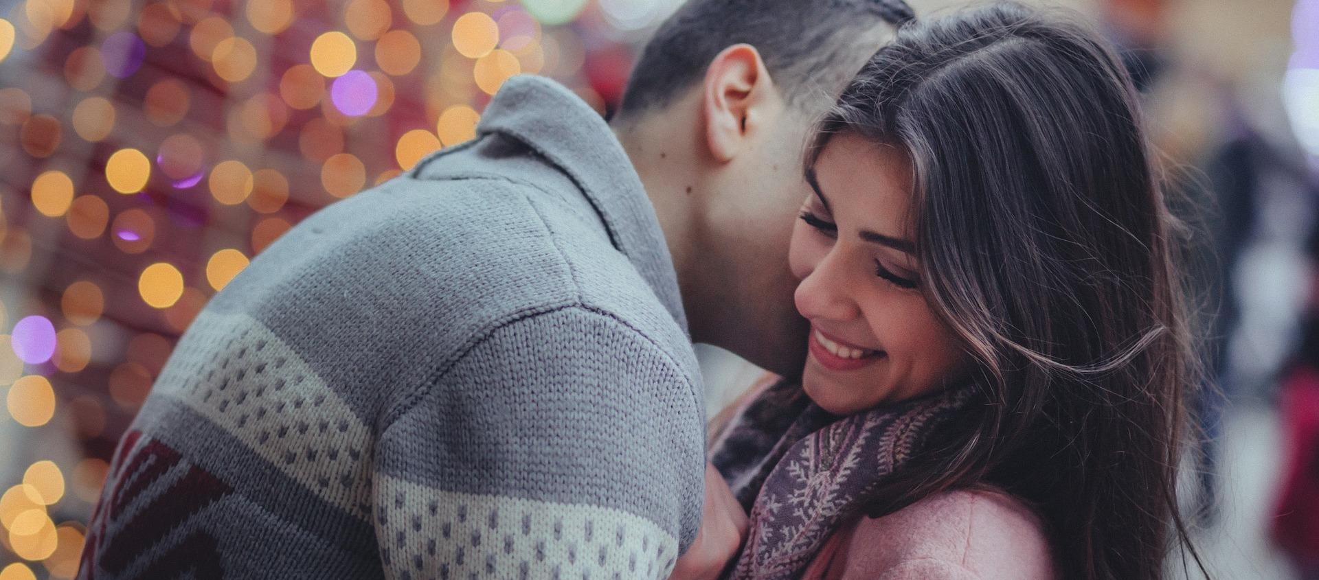 Couple fun kiss